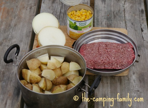 ingredients for ground beef and potatoes dinner