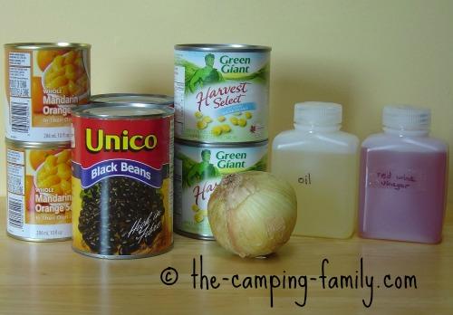 ingredients for mandarin black bean salad