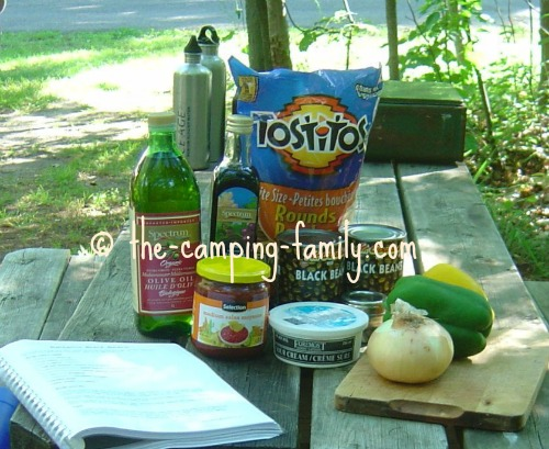 ingredients for Balsamic Black Beans on picnic table