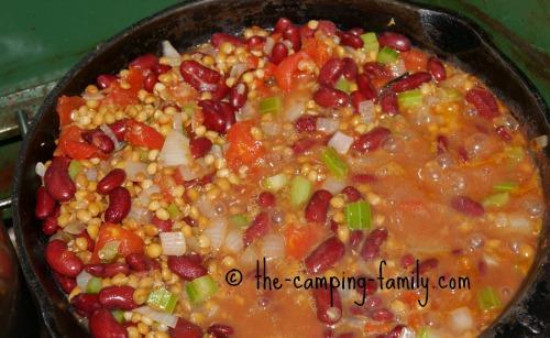 easy lentil meal in skillet