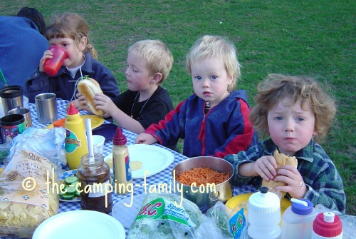 children at picnic table