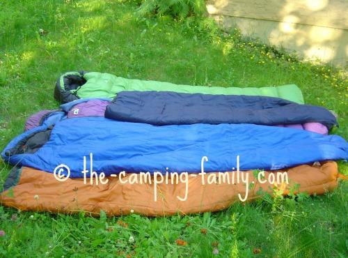 sleeping bags on grass