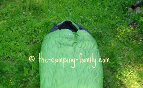 green mummy bag hood