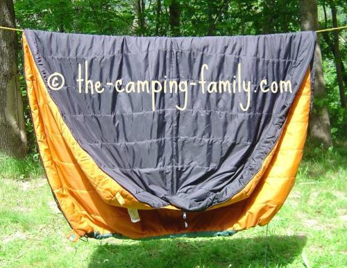 barrel sleeping bag on clothesline