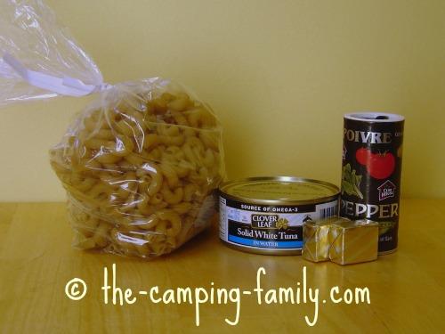 macaroni, tuna, bouillon cubes and pepper