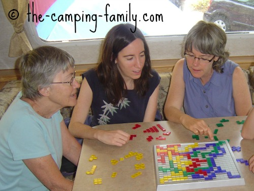 playing Blokus in the trailer