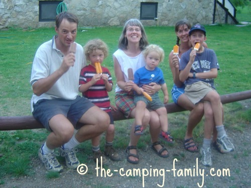 eating popsicles at the camp store