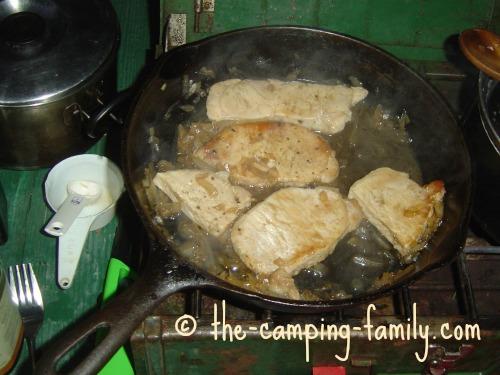 pork chops in skillet