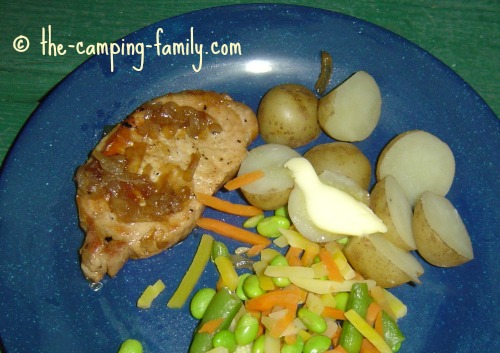 Balsamic Maple Pork Chop with potatoes and vegetables