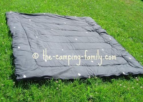 rectangular sleeping bag opened up