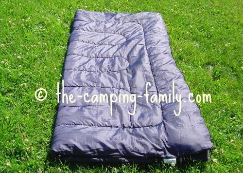 blue rectangular sleeping bag