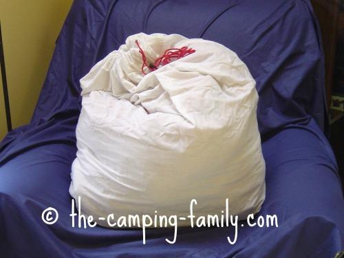 sleeping bag in cotton sack