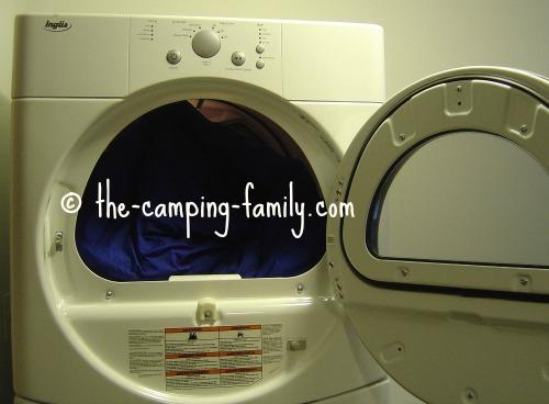 sleeping bag in dryer