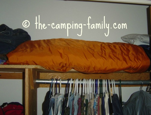 sleeping bag on shelf