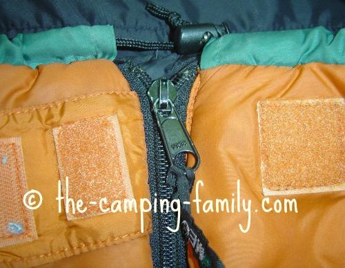 sleeping bag zipper zipped