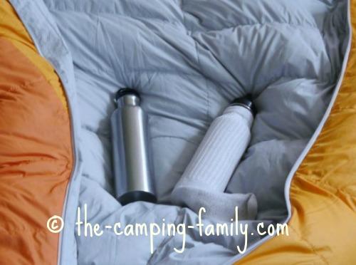 stainless steel water bottle inside cotton sock