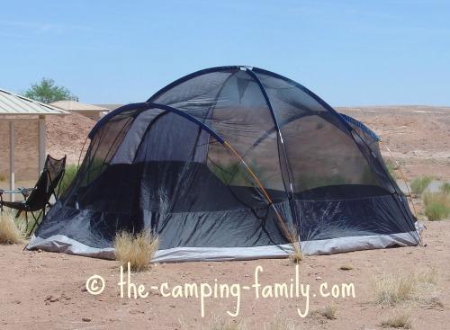 mesh tent in the desert
