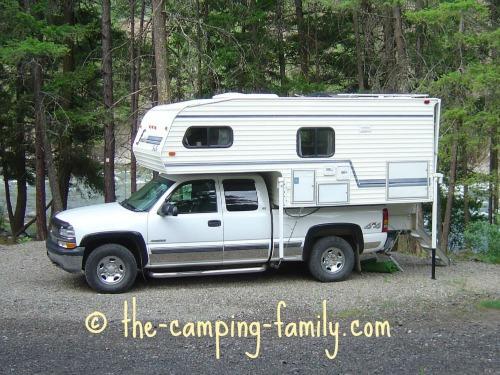 truck camper in campsite