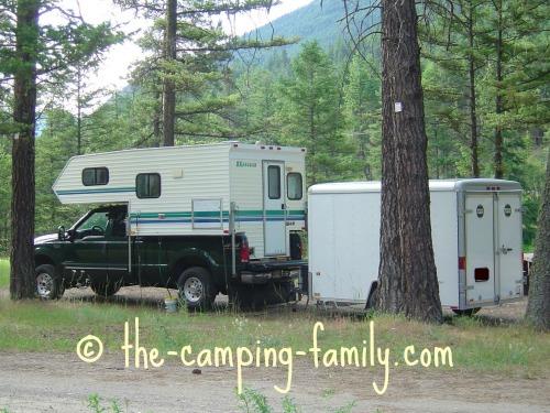truck camper towing trailer