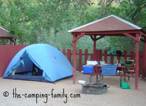 campsite with picnic shelter