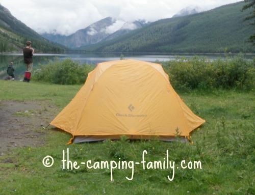 tent beside lake