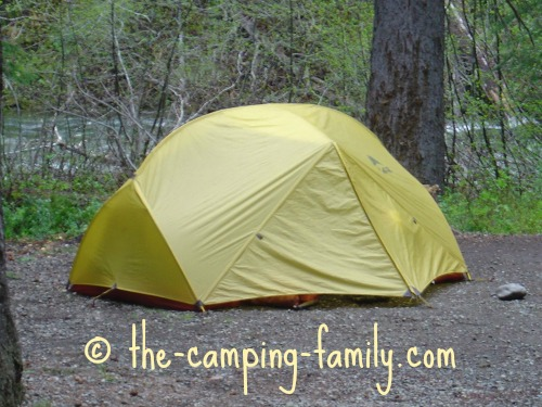 tent with yellow fly