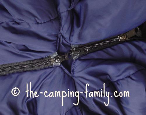 sleeping bag zippers zipped together